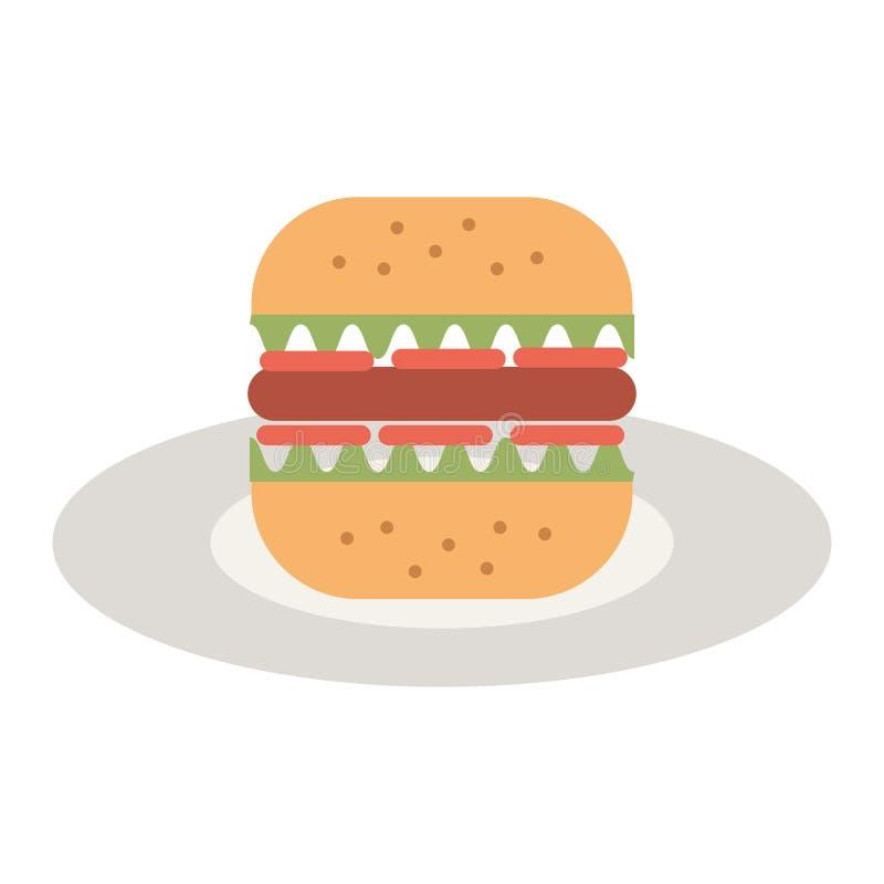Läcker hamburgare i maträtt vektor illustrationer