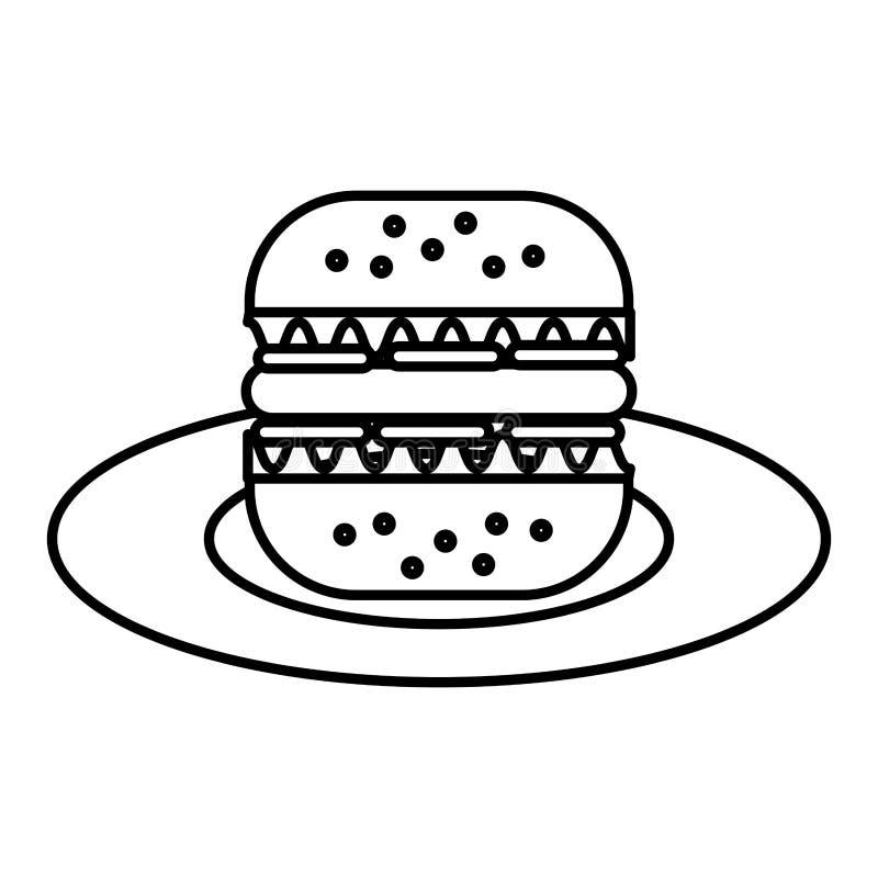 Läcker hamburgare i maträtt stock illustrationer