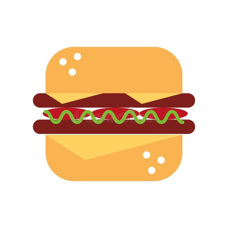 Läcker hamburgare isolerad symbol stock illustrationer