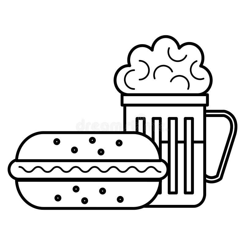 Läcker hamburgare med öl vektor illustrationer
