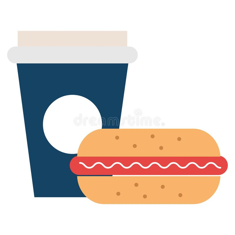 Läcker hamburgare med sodavatten royaltyfri illustrationer