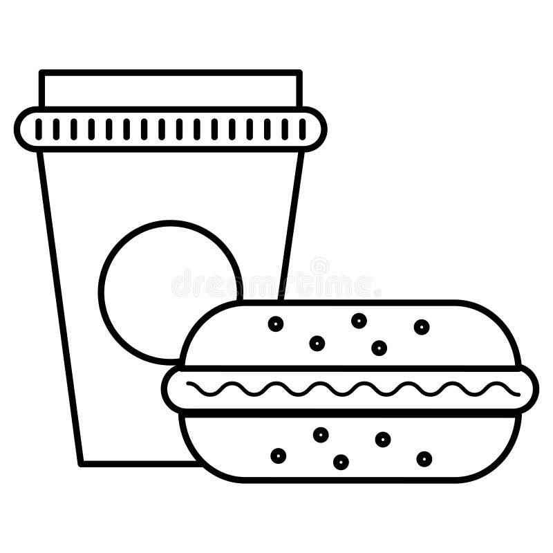 Läcker hamburgare med sodavatten stock illustrationer