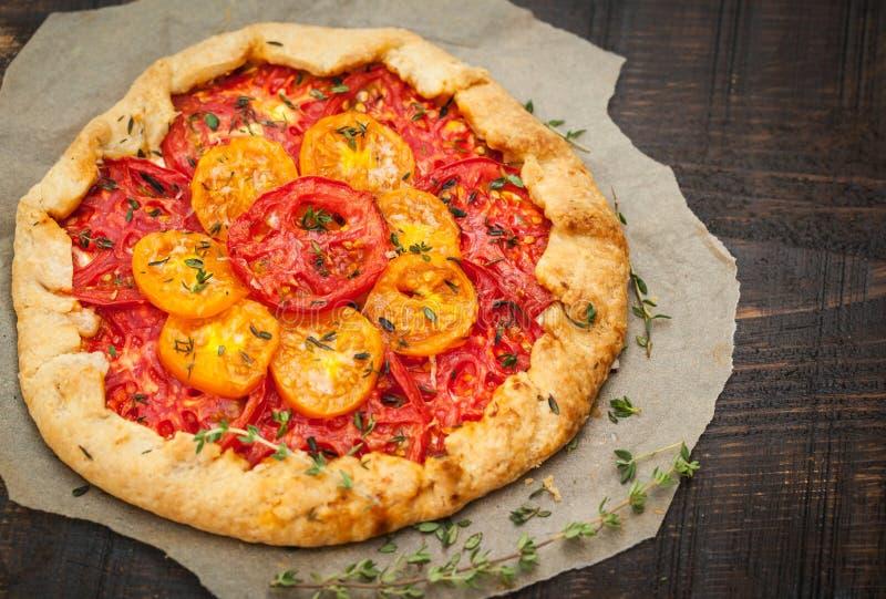 Läcker hemlagad tomatgalette arkivbilder