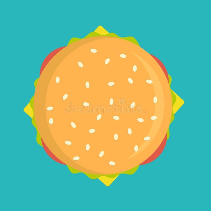 Läcker illustration för hamburgaresymbolsvektor som isoleras på bakgrund royaltyfri illustrationer