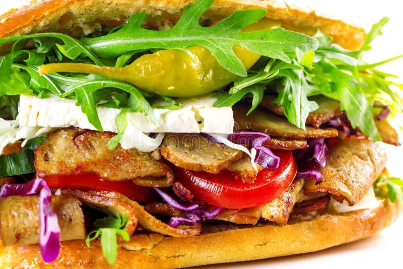 Läcker isolerad kebabsmörgås royaltyfri foto