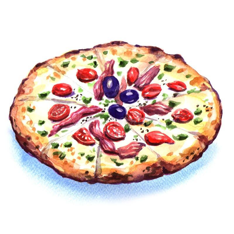 Läcker italiensk pizza över vit bakgrund stock illustrationer