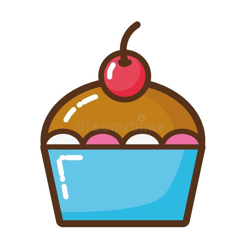 Läcker kaka isolerad symbol royaltyfri illustrationer