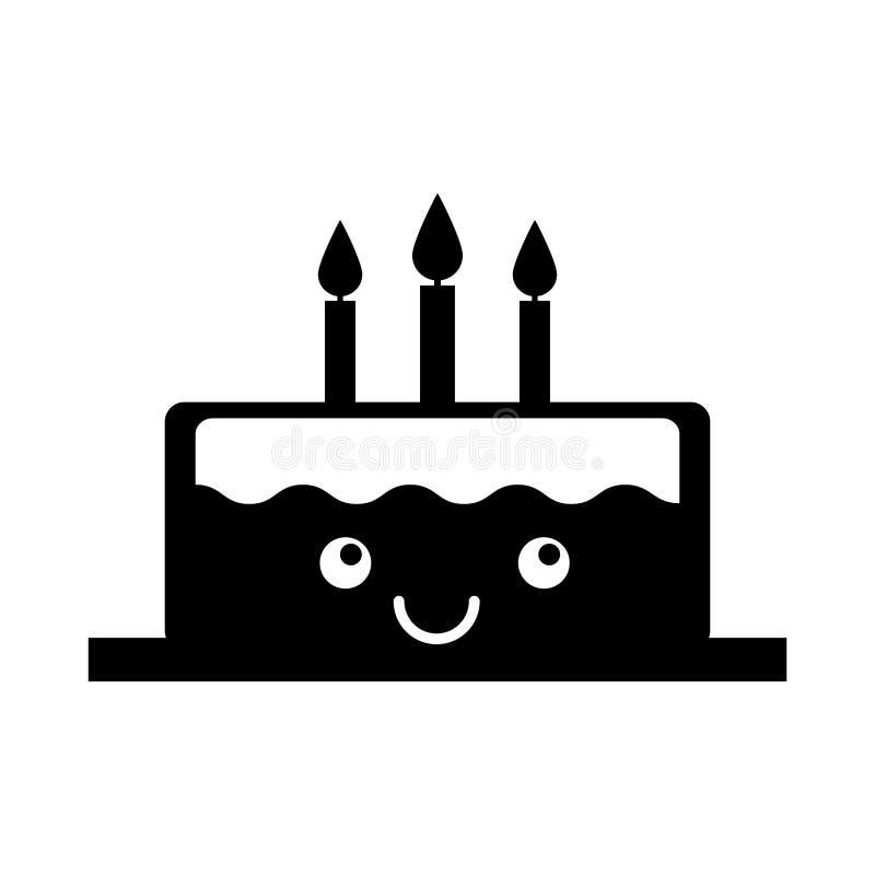 Läcker kaka med stearinljuskawaiiteckenet stock illustrationer