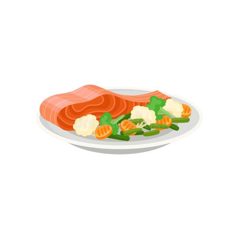 Läcker laxfisk med nya grönsaker på den keramiska plattan sunt mål Smaklig maträtt för matställe Plan vektorsymbol stock illustrationer