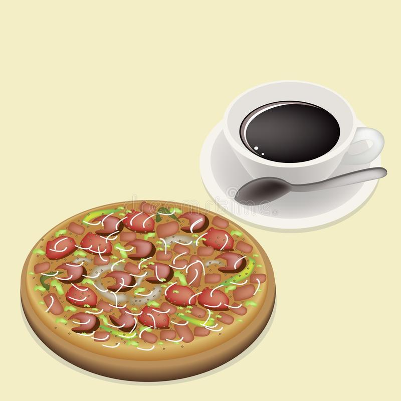 Läcker lyx- pizza på maträtt med varmt kaffe vektor illustrationer