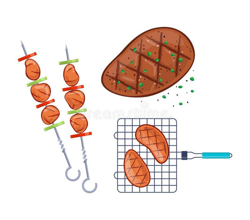 Läcker mat, kött, grillfest, kebaber med grönsaker på steknålar royaltyfri illustrationer