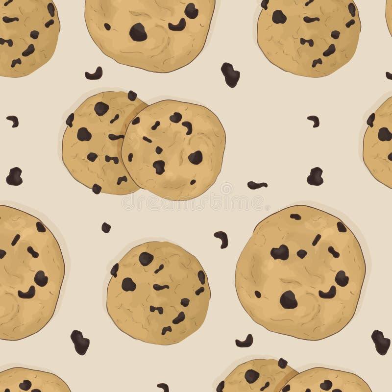 Läcker modell för kakamål Hemlagat traditionellt bageritryck för brun choklad Choco smaklig mellanmåltextur Små biscupts för chip royaltyfri illustrationer