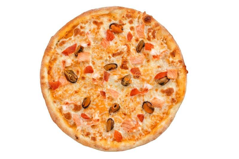 Läcker ny pizza med havs- bästa sikt arkivfoton