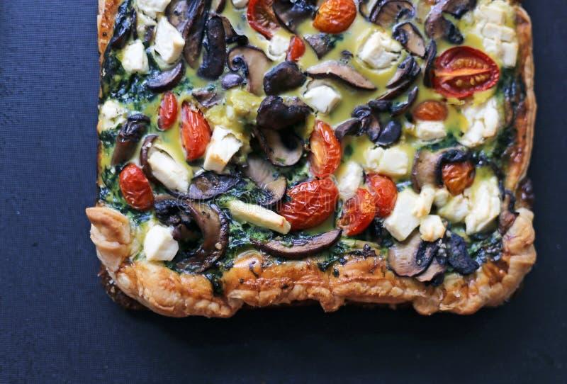 Läcker paj för tomate för matpizzachampinjoner arkivbilder