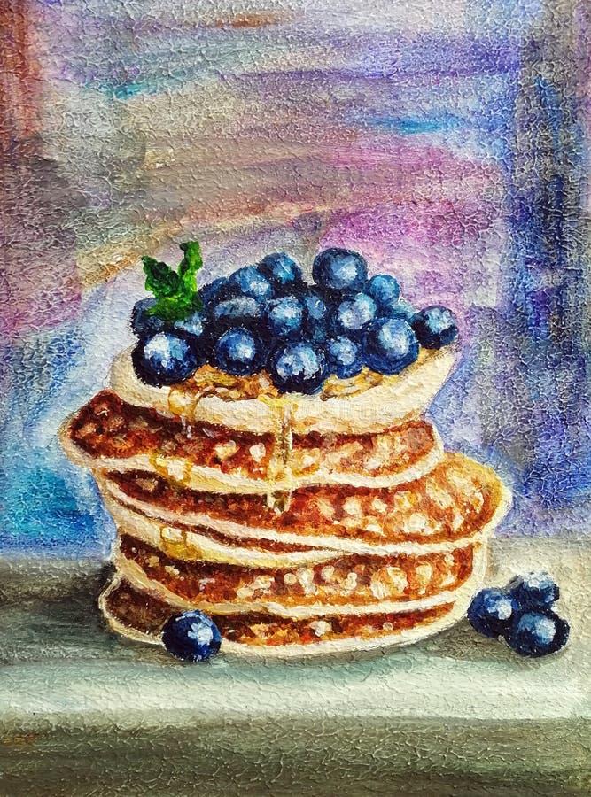 Läcker pannkaka med blåbär royaltyfria foton