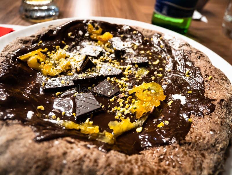 Läcker pizza för varm choklad royaltyfri foto