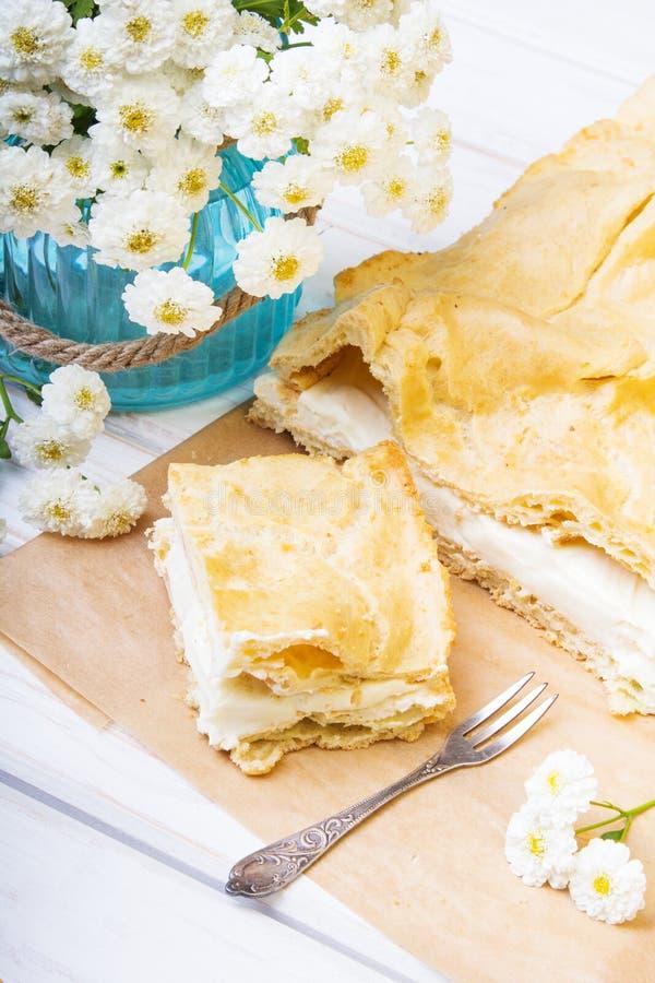 Läcker polsk kaka med kräm, fotografering för bildbyråer