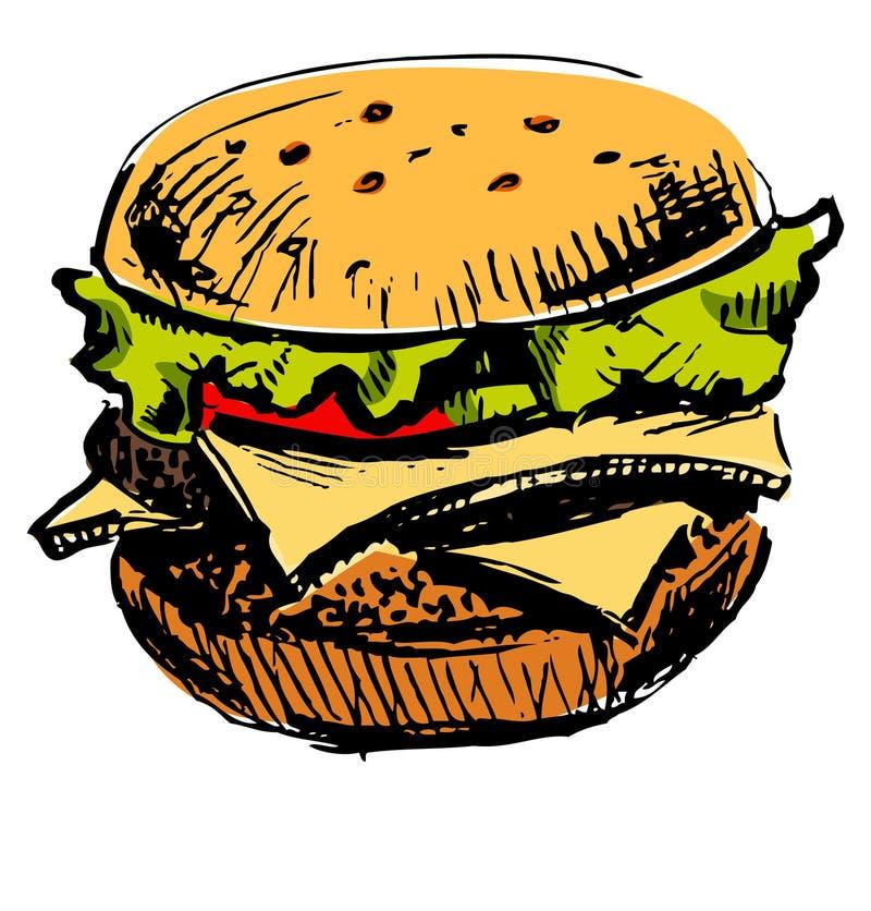 Läcker saftig hamburgare royaltyfri illustrationer