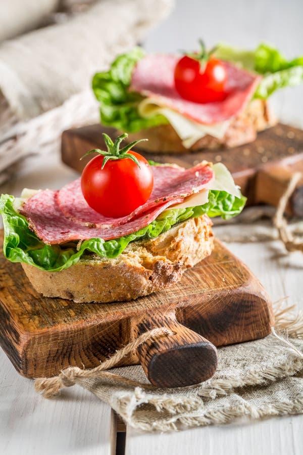 Läcker salami på smörgåsen royaltyfria bilder