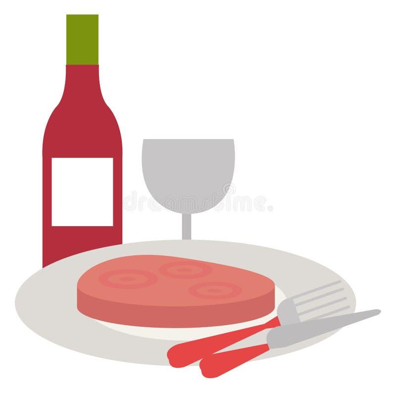 Läcker skinka i maträtt med vin stock illustrationer