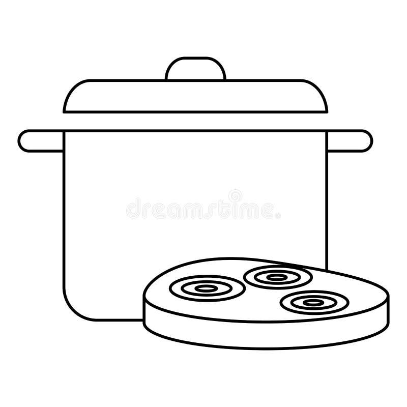 Läcker skinka med krukan vektor illustrationer