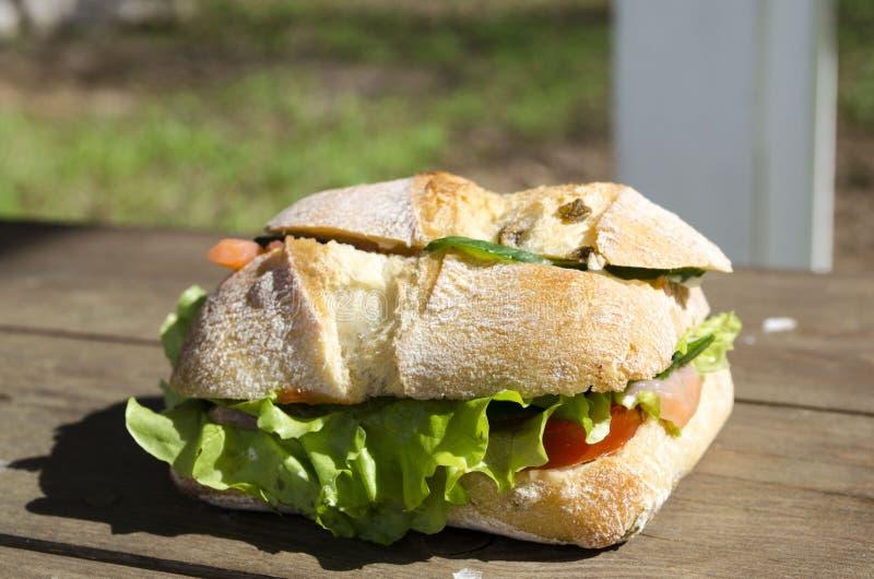 Läcker smörgås med kräm- och salladslut upp royaltyfria foton