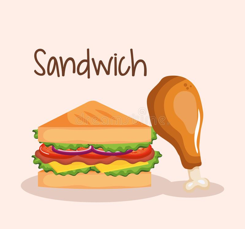 Läcker smörgås med snabbmat för feg trumpinne vektor illustrationer