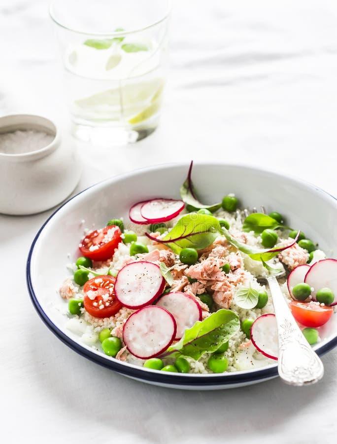 Läcker sund mat - sallad med cous cous nya grönsaker och den bakade laxen fotografering för bildbyråer