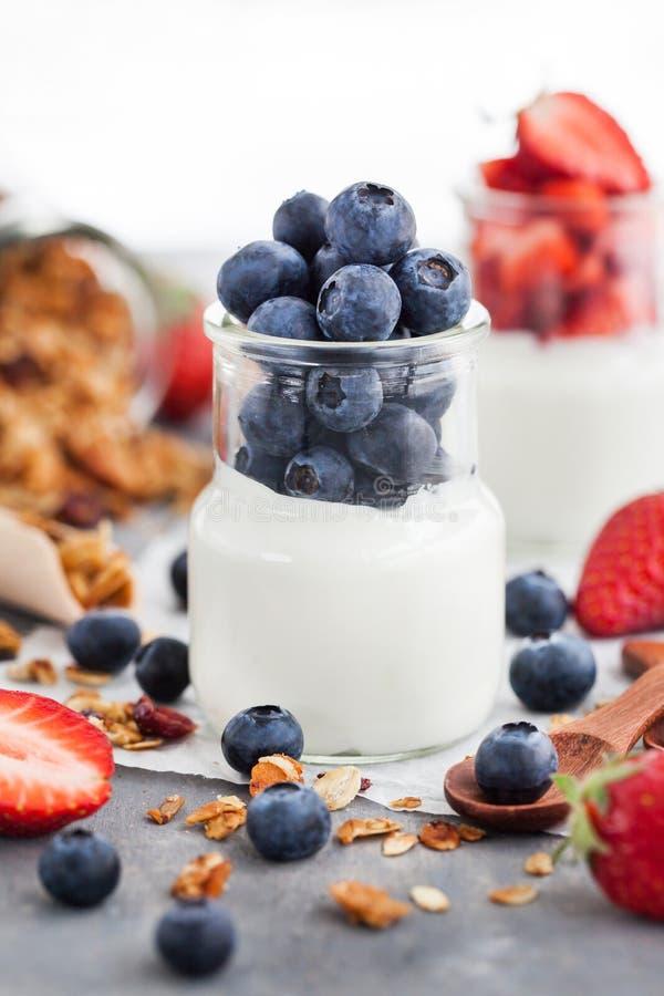 Läcker vanlig yoghurt med det nya blåbäret och jordgubben i a royaltyfri bild