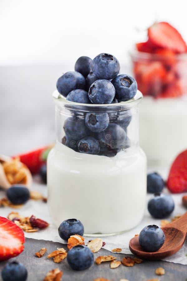 Läcker vanlig yoghurt med det nya blåbäret och jordgubben i a fotografering för bildbyråer