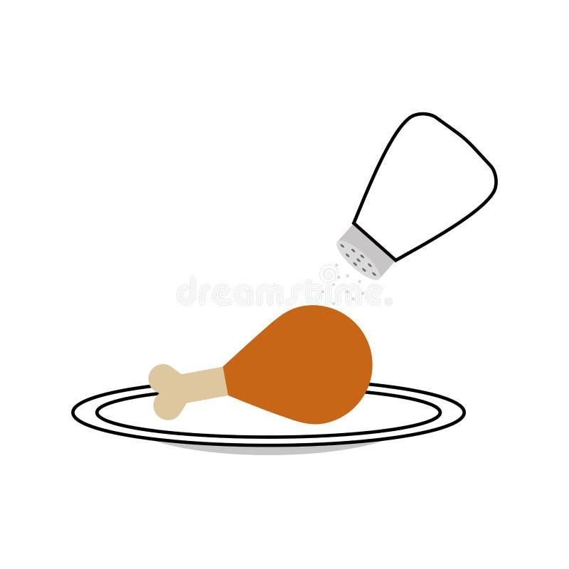 Läckert fegt kött med den salta shaker vektor illustrationer