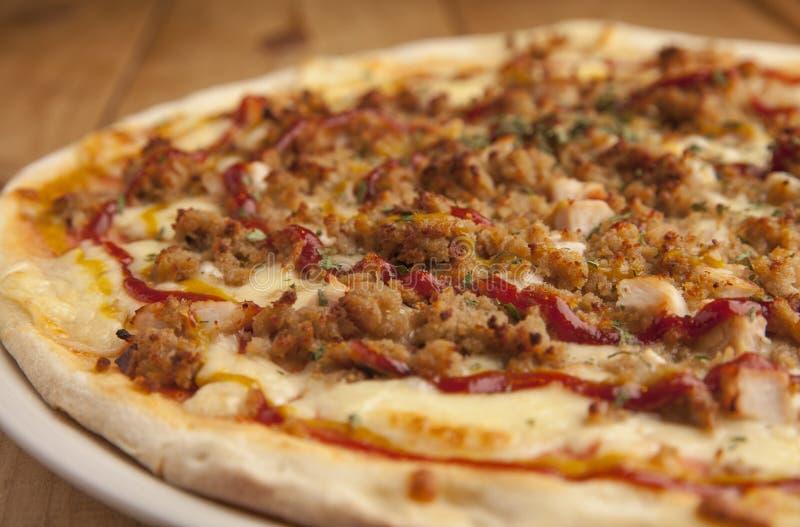 Läckert grillfestpizzaslut upp royaltyfria foton