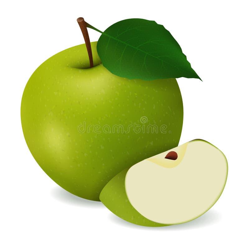 läckert saftigt grönt äpple med sidor vektor illustrationer
