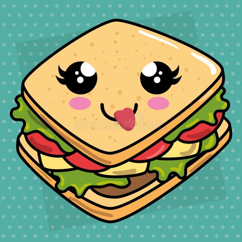 Läckert sandwish kawaiitecken vektor illustrationer