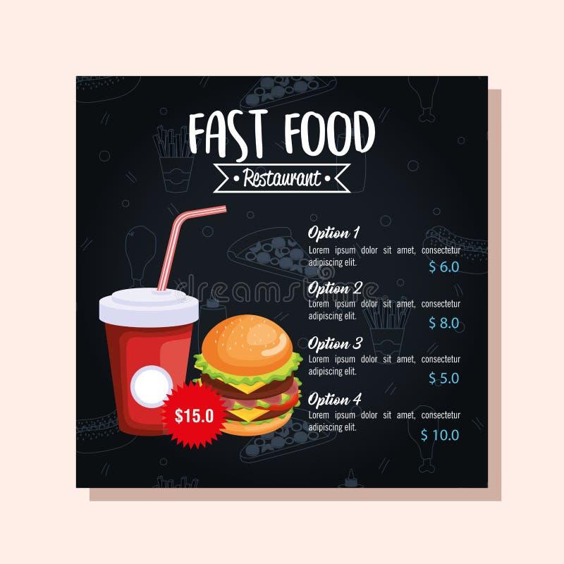 Läckert stort kort för hamburgaresnabbmatmeny stock illustrationer