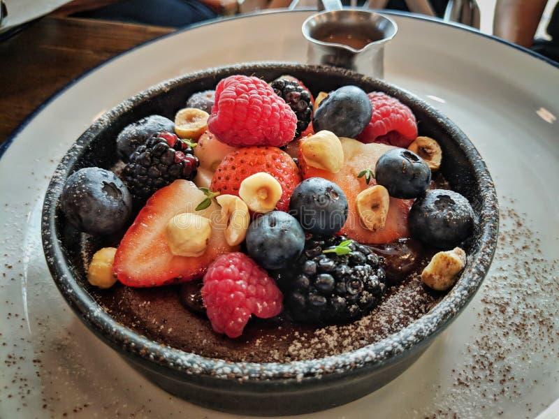 Läckert syrligt för choklad för bärfrukt som fokuseras på bären i mitt royaltyfri bild