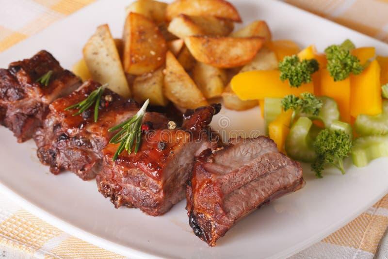 Läckra BBQ-grisköttstöd med sallad och potatisnärbild horizo arkivfoto