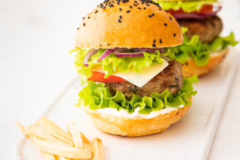 Läckra hamburgare med nötkött, tomaten, ost, fransmansmåfiskar och grönsallat kopiera avstånd royaltyfria bilder