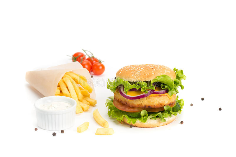 Läckra hamburgare- och fransmansmåfiskar fotografering för bildbyråer