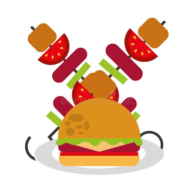 L?ckra hamburgare- och k?ttstekn?lar royaltyfri illustrationer