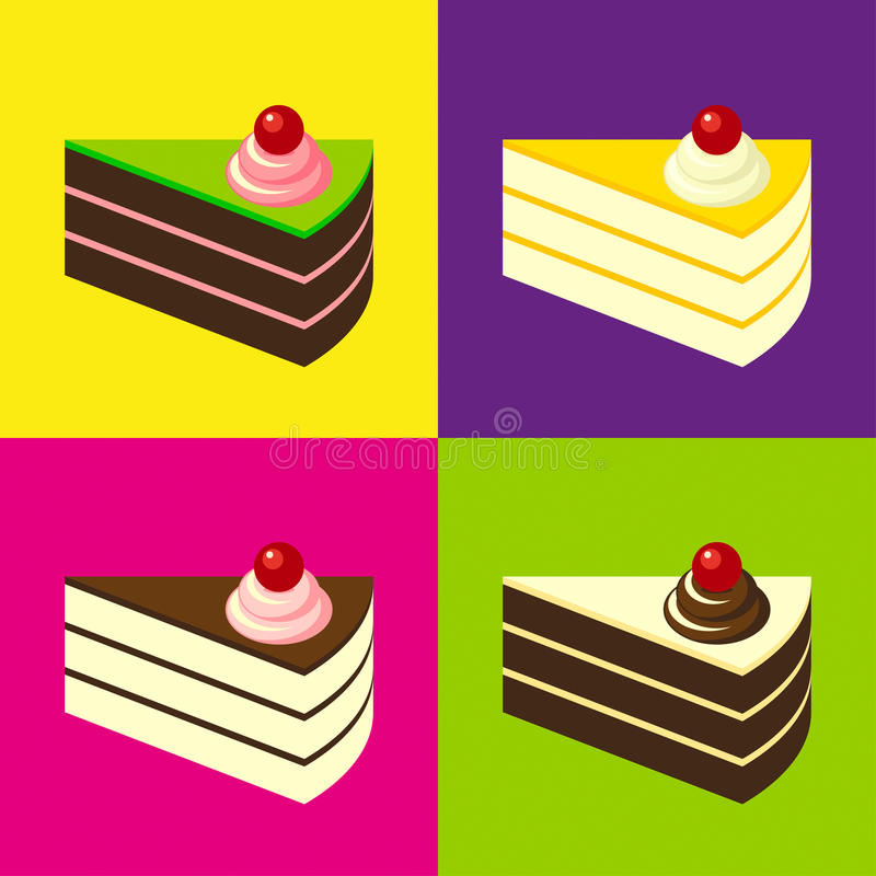 Läckra kakor på färgglad belagd med tegel bakgrund Pop-konst stil stock illustrationer