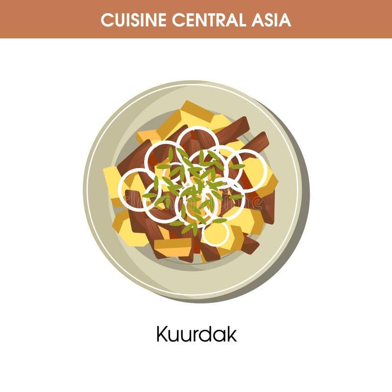 Läckra Kuurdak på plattan från central asiatisk kokkonst royaltyfri illustrationer