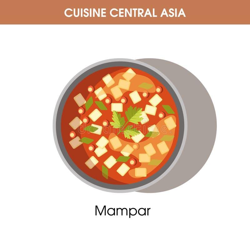Läckra Mampar i bunke från central asiatisk kokkonst royaltyfri illustrationer