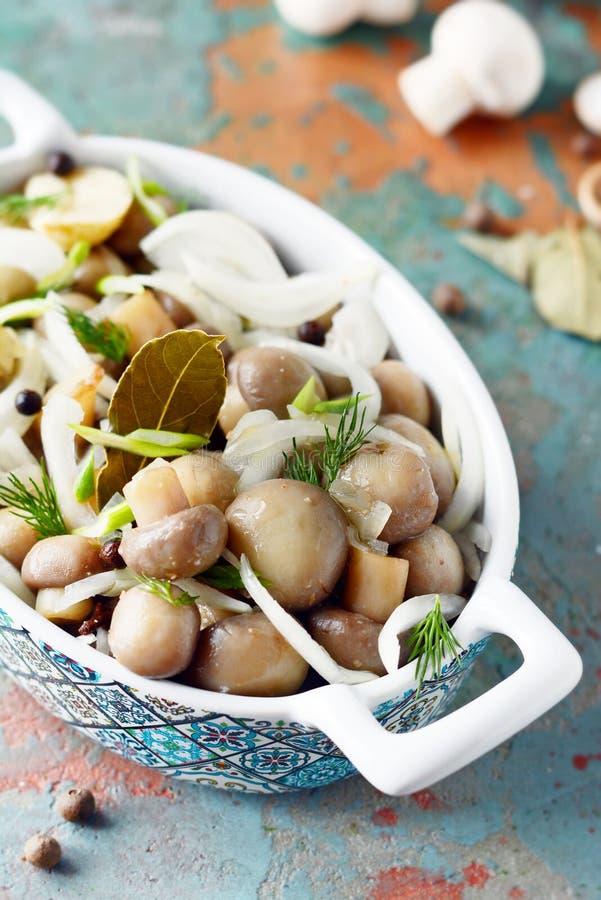 Läckra marinerade champinjoner i en härlig bunke med lökar, peppar, dill och olivolja på enblått bakgrund, bästa sikt royaltyfria bilder