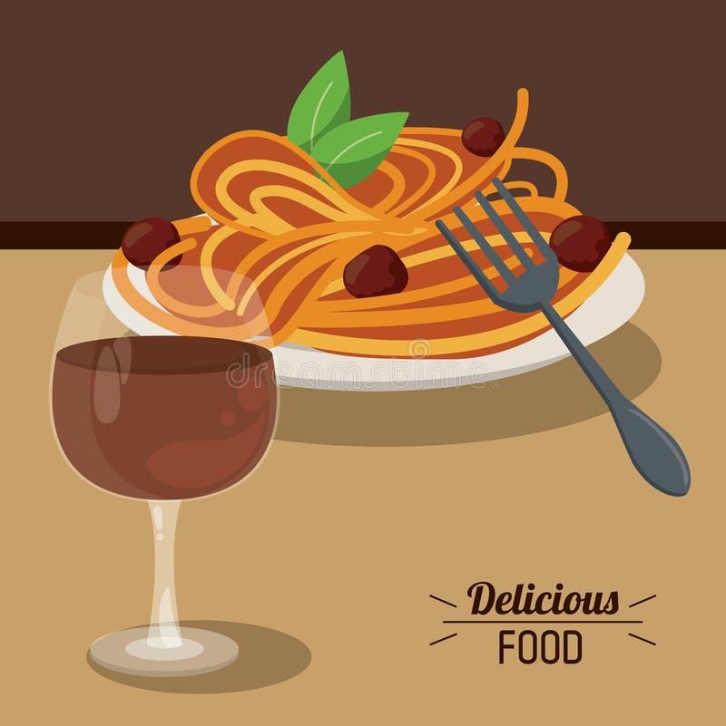 Läckra matspagettiköttbullar och exponeringsglas kuper vin vektor illustrationer