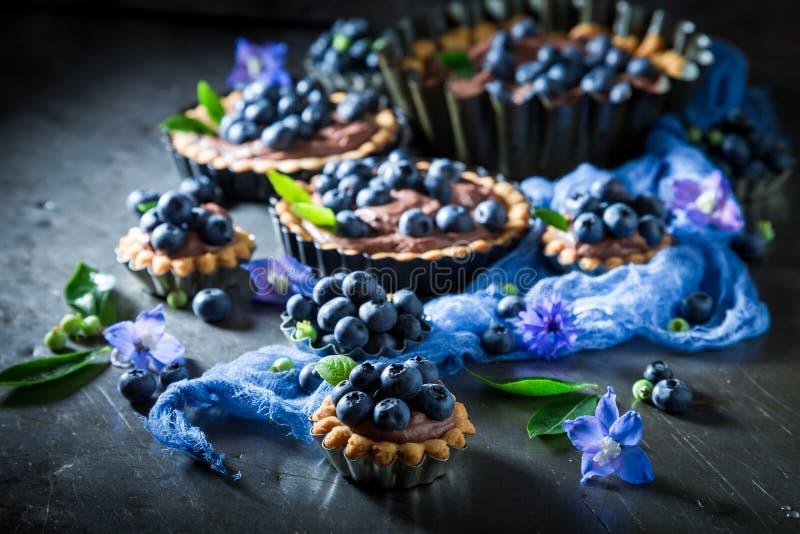 Läckra och frasiga tarts med blåbär, chokladpralin och bär royaltyfri fotografi