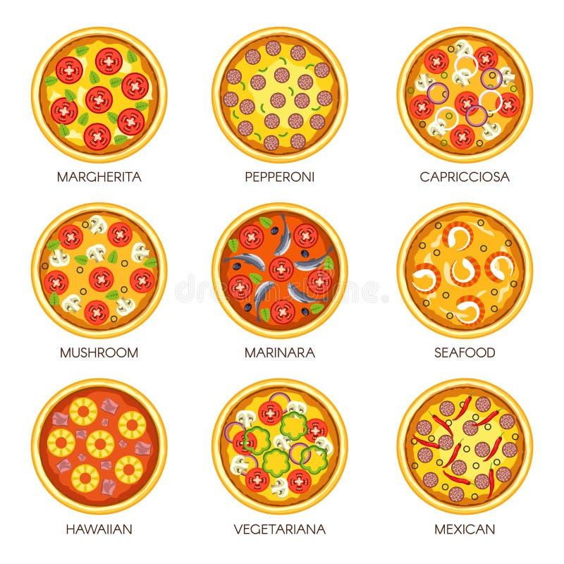 Läckra pizza med olika fyllningar och anstrykningar ställde in vektor illustrationer