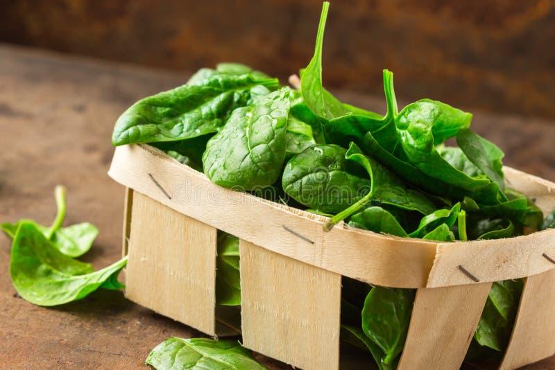 Läckra spenat Ny organisk spenat lämnar i korg en trätabell Banta och att banta begrepp Strikt vegetarianmat, sunt äta arkivbild