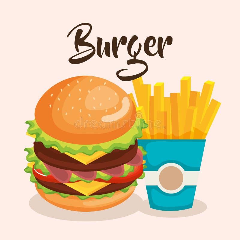 Läckra stora hamburgare- och fransmansmåfiskar vektor illustrationer