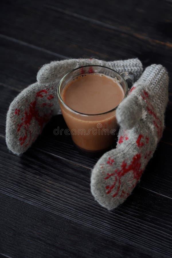 Läckra tjocka varm choklad- och rät maskatumvanten arkivbilder